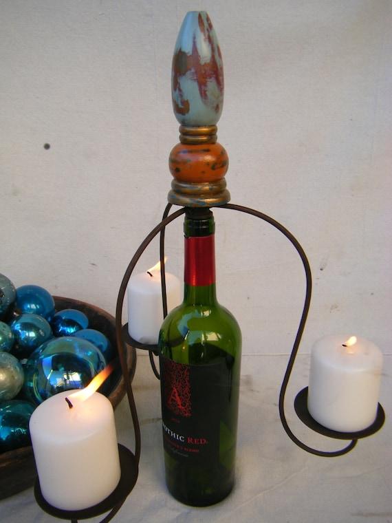 Paris Sidewalk Cafe Wine Bottle Candleholder