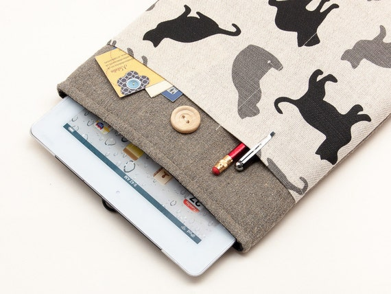 40% OFF Christmas SALE iPad Case with Grey Black cats pocket and button closure. Padded Cover for iPad Air 1 2. iPad Air Sleeve Bag.