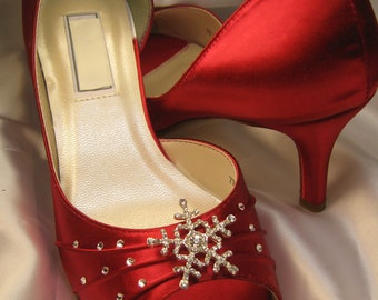 Winter Wedding Red Bridal Shoes with Crystal Snowflake Red Wedding Shoes Over 100 Custom Color Choices