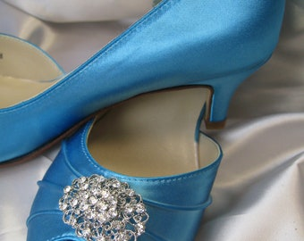 Blue Wedding Shoes Peep Toe Blue Bridal Shoes  Something Blue Shoes - 100 Custom Colors Pick your heel size Malibu Blue