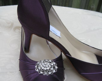 Purple Eggplant Bridal Shoes with Crystal Rhinestone Design - Over 100 Color Shoe Choices to Pick From