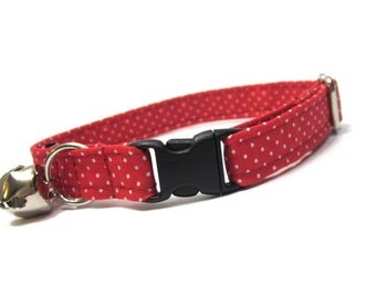 Cat Collar...Red...White... Pin Dots