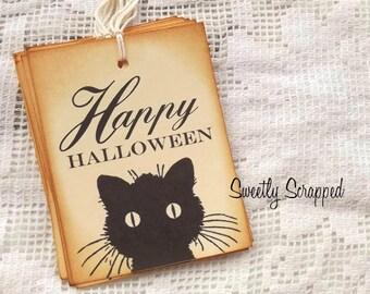 Black Cat - Happy Halloween Tags, Vintage Tags Look, Black