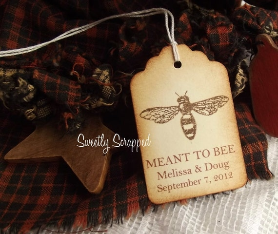 Meant to BEE Tags, Customize, Personalize, Brown with Bee, Wedding Favor Labels