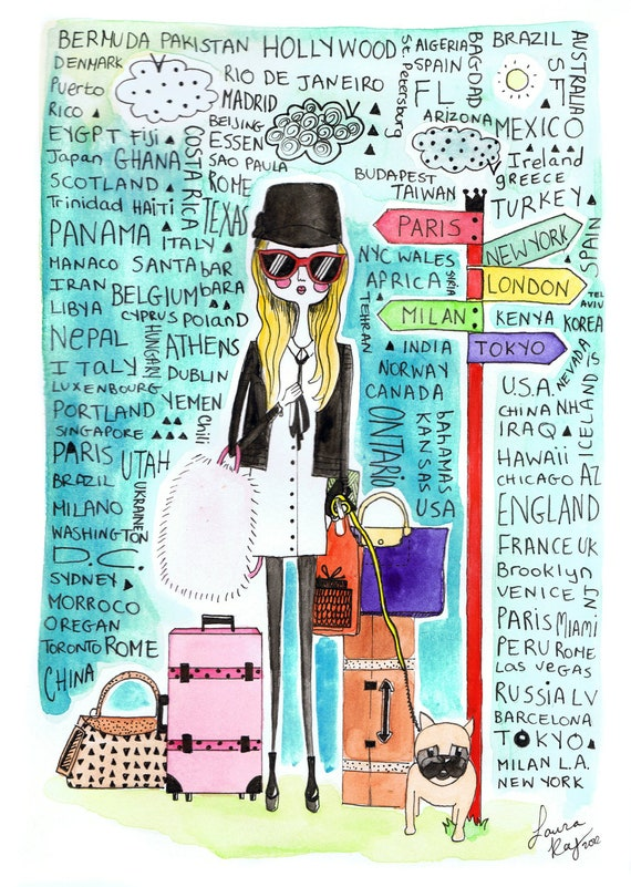 Childrens room wall art, Travel In Style ,fashion illustration Print , Countries and Places to Visit