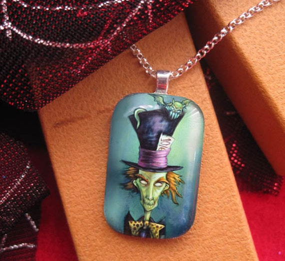 Gothic Mad Hatter, Alice in Wonderland Necklace-Glass Pendant