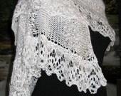 Hand Knit Shawl, White, Lacy, Off-Set Triangular Shawl, Wedding Shawl, Handmade, Elegant, Multi Textural,  Tone on Tone Whites, High Fashion
