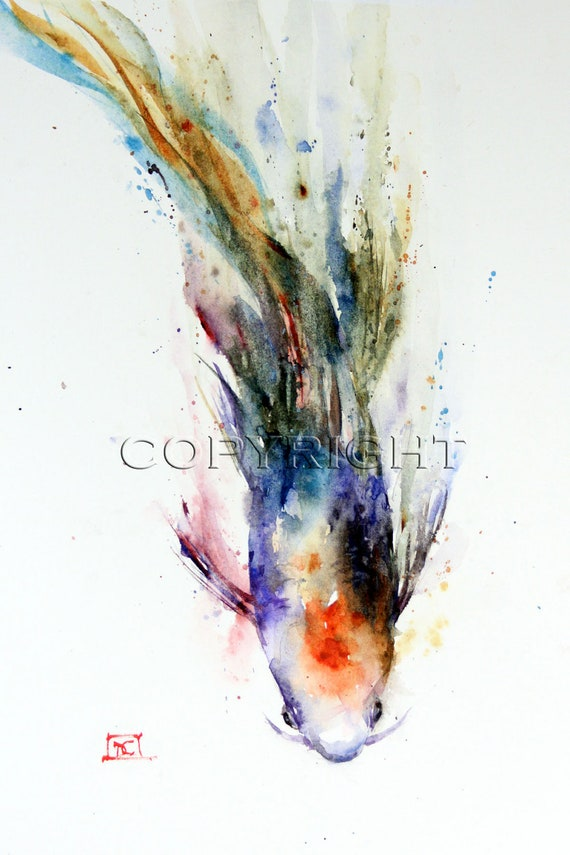 Koi watercolor print fish painting by dean crouser for Rainbow koi fish