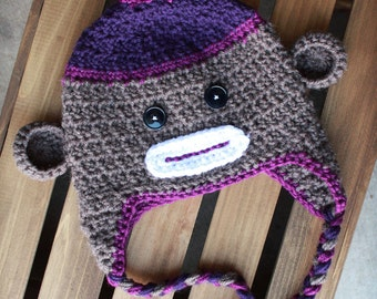 Purple Sock Monkey Crochet Beanie with Earflaps and Braids