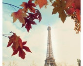 Autumn in Paris - Eiffel Tower Fall colors red orange maple leaves green gold turquoise brown - 8x12 or 10x15 - Original Fine Art Photograph
