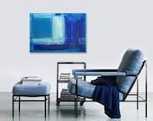 "SALE - Acrylic Abstract Painting Original Fine Art 18""x24"" by Linnea Heide - olympian blue - colorblock geometric"