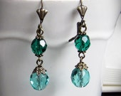 Aqua Blue Earrings, in Czech Glass Beads and Antiqued Brass