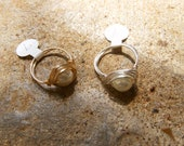 White Pearl Wire-Wrapped Rings