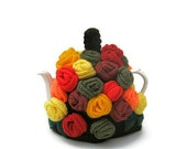 Crochet tea cosy Autumn Fall chic rose flower teapot cozy kitsch cottage chic