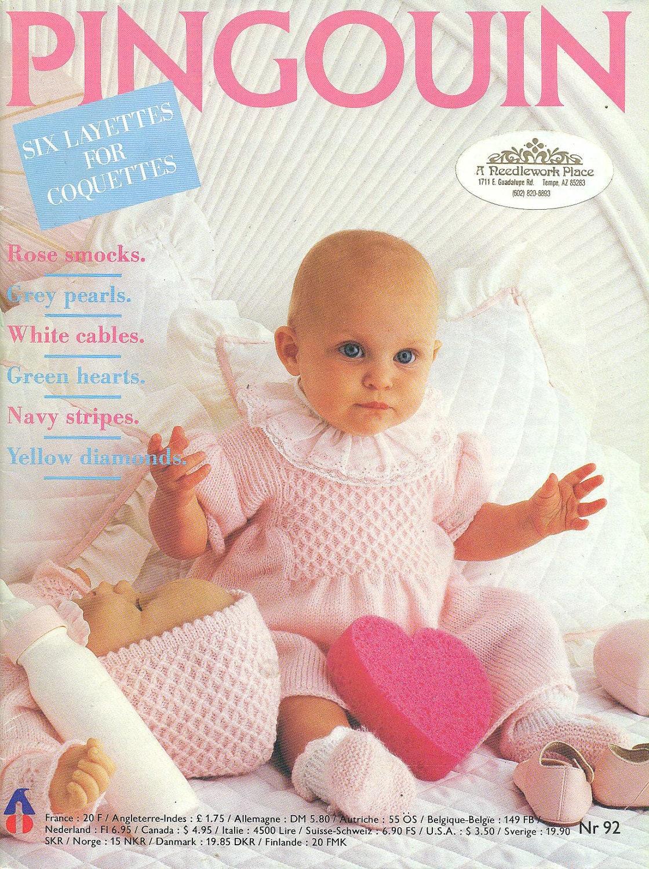 Pingouin Knitting Pattern Books : PINGOUIN Knitting Magazine No. 92 BABY LAYETTES Vintage 1986