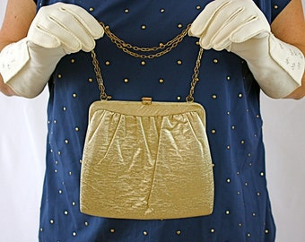 Vintage 60s Gold Formal Purse by HL Sparkling Gold Lame' Party Purse