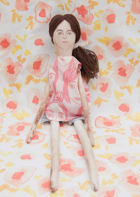Rag Doll with Girls Print Dress