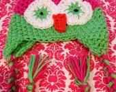Girls Owl Hat ...Pink & Lime Green..Newborn to Womens