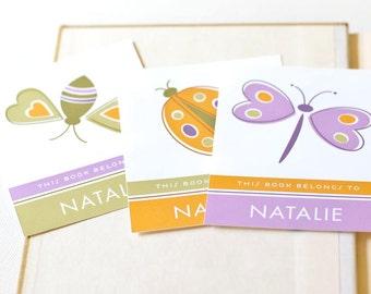 Personalized Bookplates, Children's Bookplate Sticker Set // BUGABOO