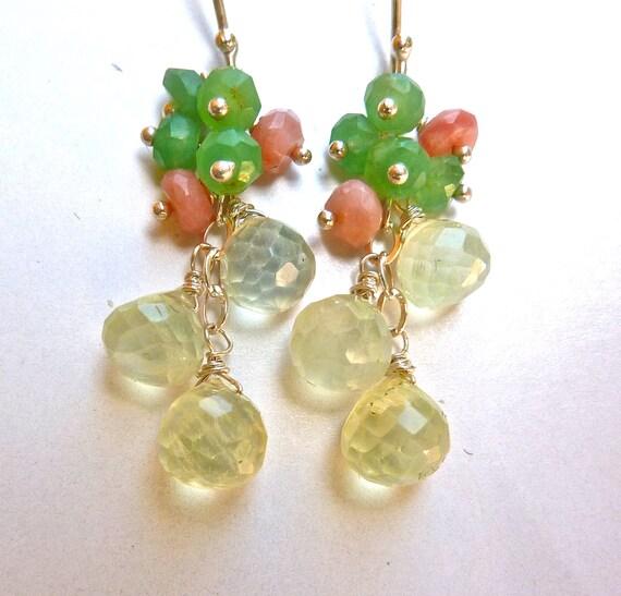 Pastel Cluster Earrings. Pink Peruvian Opal, Chyroprase, Phrenite, Sterling Silver Beadwork Earrings. Dangling Drop Chandelier Earrings.