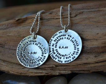 His & Hers Matching Necklaces - Sterling Silver  -Couples Necklaces, Wedding Necklaces - Personalized - Special Song, Quotes, Dates , Names