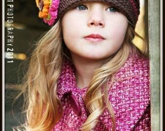Girl's Crochet Hat, Little Girl's Hat, Toddler Girl Hat, Crochet Toddler Hat for Girls, Little Girl Hat with Flower,Winter Hat, Girl Hat