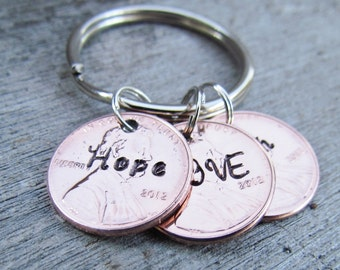 3 Penny Key Chain Personalized Hand Stamped Jewelry Charm Custom Name Keychain Great Gift 1950 to 2016 Pennies 7th Anniversary