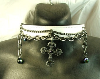 White Leather Collar Gothic Cross Chains Bdsm Collar Bondage Collar mature Slave Collar