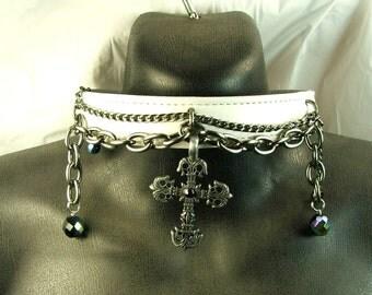 White Leather Collar Gothic Cross Chains Bdsm Collar Bondage Collar mature Slave Collar