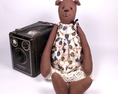 Cottage Bear - Chocolate Brown Berry Dress with Lace - Artist Bear
