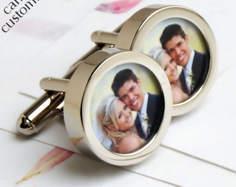 Wedding Photo Cufflinks and Make Lovely First Wedding Anniversary Gift