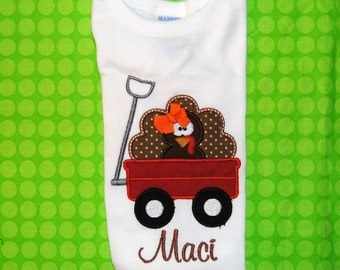 Turkey with bow in Wagon Shirt or Bodysuit with Name Personalized