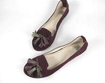 The Loafers Shoes in Burgundy Suede - Handmade Leather Shoes