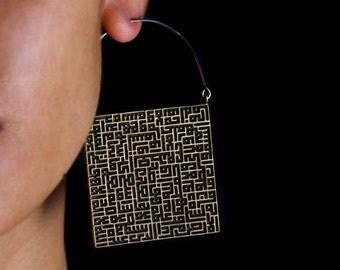 Square Earrings Brass - Hoop Earrings - Boho Jewelry - Statement Jewelry