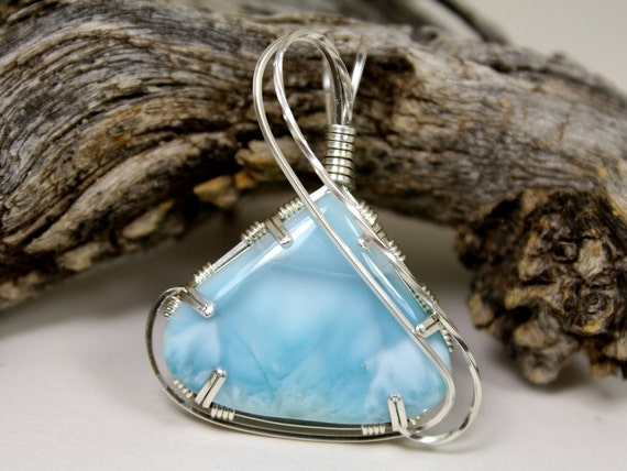 AAA Quality Larimar Wire Wrapped Pendant, Handmade with Sterling Silver by Arizona Wired Elegance