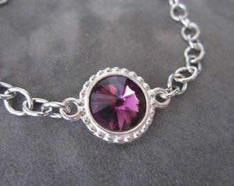 February Birthstone Bracelet, Silver Purple Crystal Birthstone Jewelry, Amethyst Bracelet