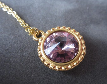 June Birthstone Necklace, Gold Crystal Jewelry, Light Purple Amethyst, Gold Alexandrite Necklace, Spring Jewelry