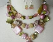 Bib Statement Necklace, Chunky Necklace, Large Bead Necklace, Multi Strand, Pink Olive Green