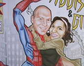 Amazing Spider-man and Gwen Stacey or Mary Jane Watson Custom Comic Book Couple Portrait