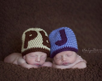 Crochet Baby Twin Peanut Butter and Jelly Beanies Set of Two Newborn Hats - MADE TO ORDER