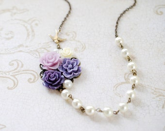 Purple Ivory Flowers Collage Necklace. Amthyst Purple Ivory Flowers, Swallow Bird, Ivory Pearl Necklace. Wedding Bridal Necklace