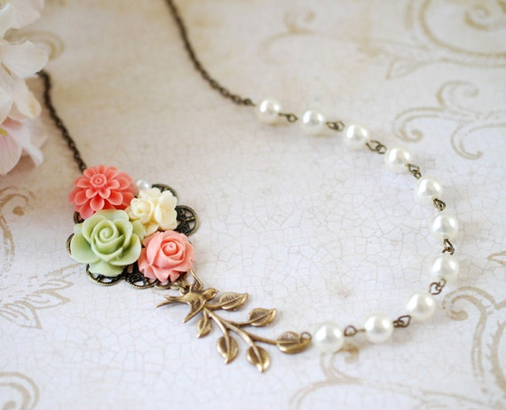 Flower Garden Collage Necklace. Orange Pink Green Ivory Flowers, Swallow Bird, Leaf, Cream Ivory Pearl Necklace. Wedding Bridal Necklace