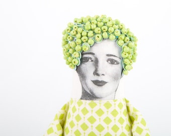 Modern Art Doll in Neon Green and mint Stylish beads Hat ,geometric dress , Ooak Printed vintage face black & white - Handmade fabric doll