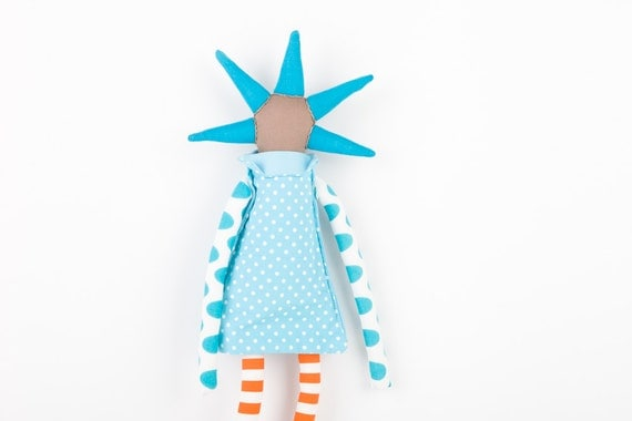 urban Brown ooak art doll - funky  handmade doll With cool Neon Turquoise Spikes Haircut - aqua dress with Polka Dots Striped Orange Pants