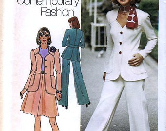 Simplicity 6104 Vintage 70s Misses' Unlined Jacket, Short Skirt and Pants Sewing Pattern - Uncut - Size 10 - Bust 32.5
