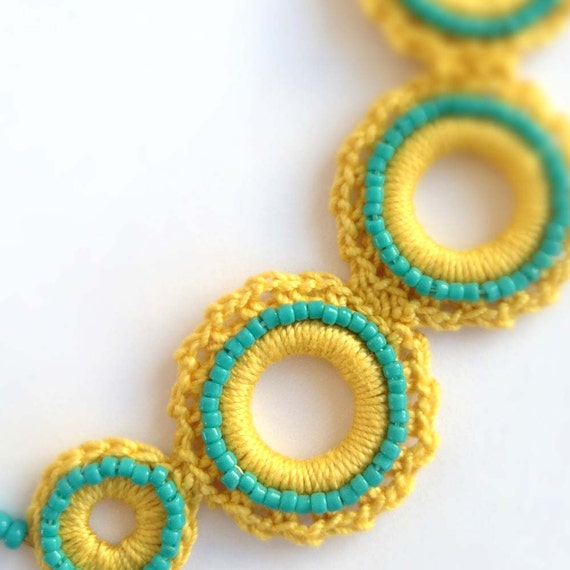 Crochet Circles Beaded Choker in Mustard Gold Yellow and Turquoise, One of a Kind, Handmade