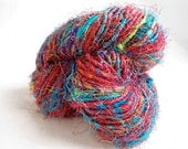 Recycled Upcycled Sari Silk Yarn - chunky weight - MULTICOLOR
