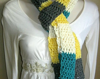 Teal, Slate, Canary, and Snow Multicolored Scarf