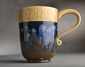 Personalized Mug Made To Order Personalized Stamped Coffee Tea Cocoa Mug by Symmetrical Pottery
