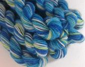 Blue Green Superwash Wool Mini Skein Fingering Weight Sock Yarn - 25 yards